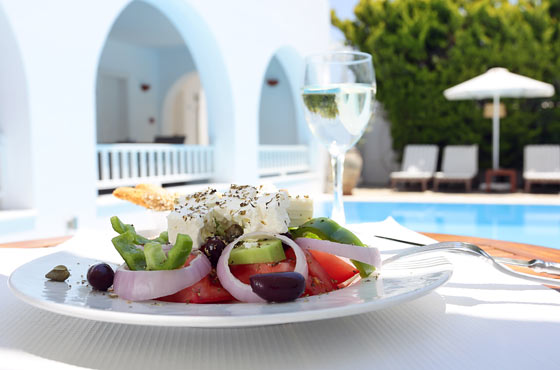Lunch by the pool at Stelia Mare Hotel in Paros