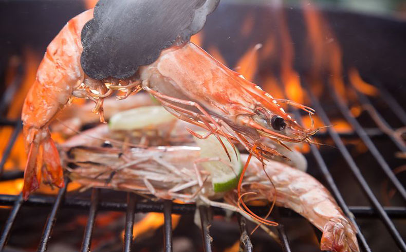 Fresh Shrimps On Grill - Traditional Paros Restaurants