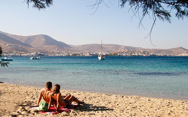 Let's swim and sunbathing in Paros Greece