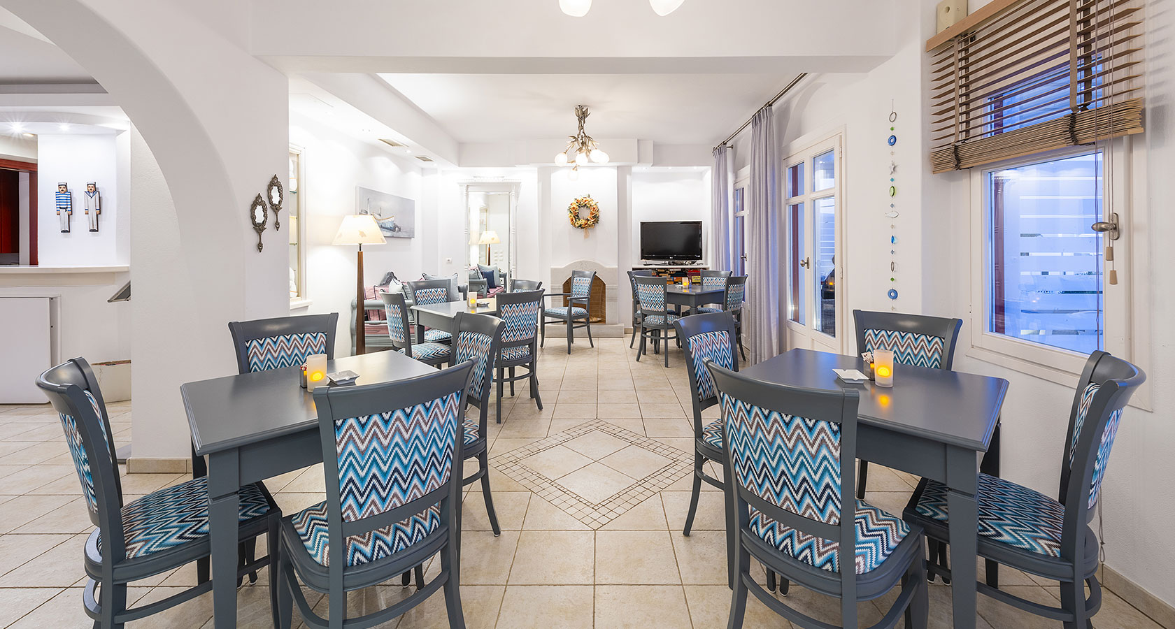 Breakfast area of Stelia Mare Hotel in Paros