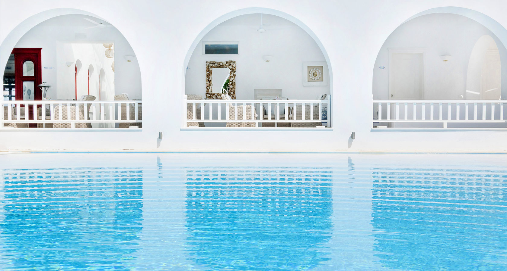 The swimming pool of Stelia Mare Hotel in Paros