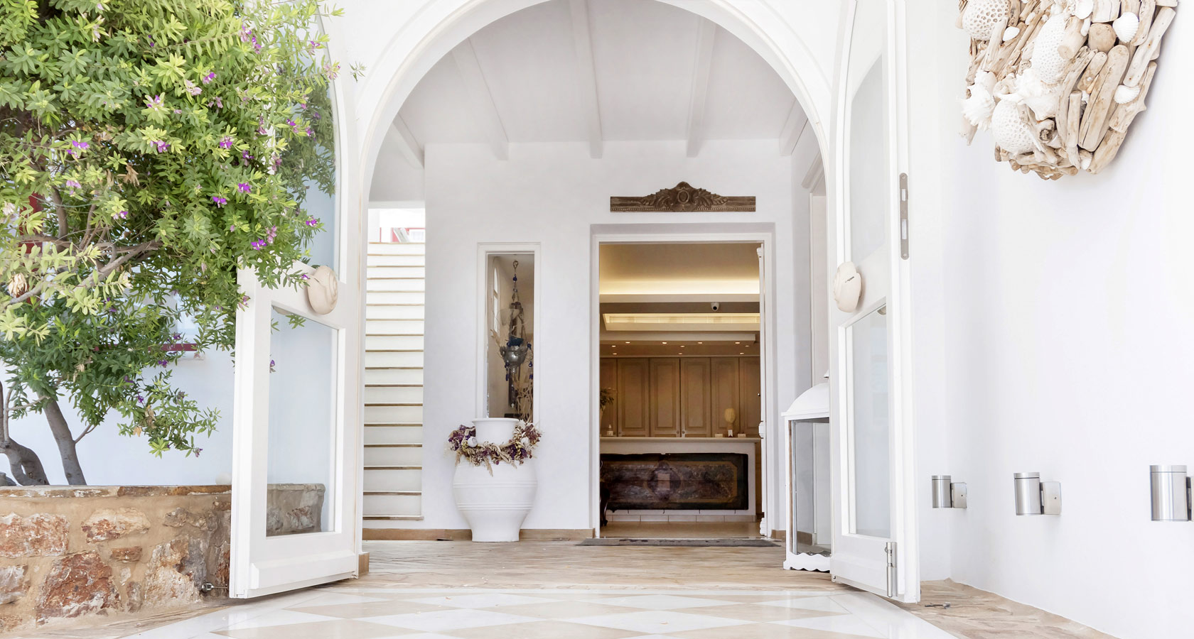 Entrance of Stelia Mare Hotel in Paros, Naoussa